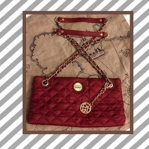 DKNY RED QUILT CHAIN CROSSBODY BAG